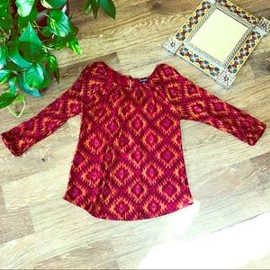 Lucky Brand deep red tribal print peasant top